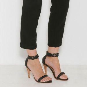 Ulla Johnson Manu Black Leather Sandal Sz 37